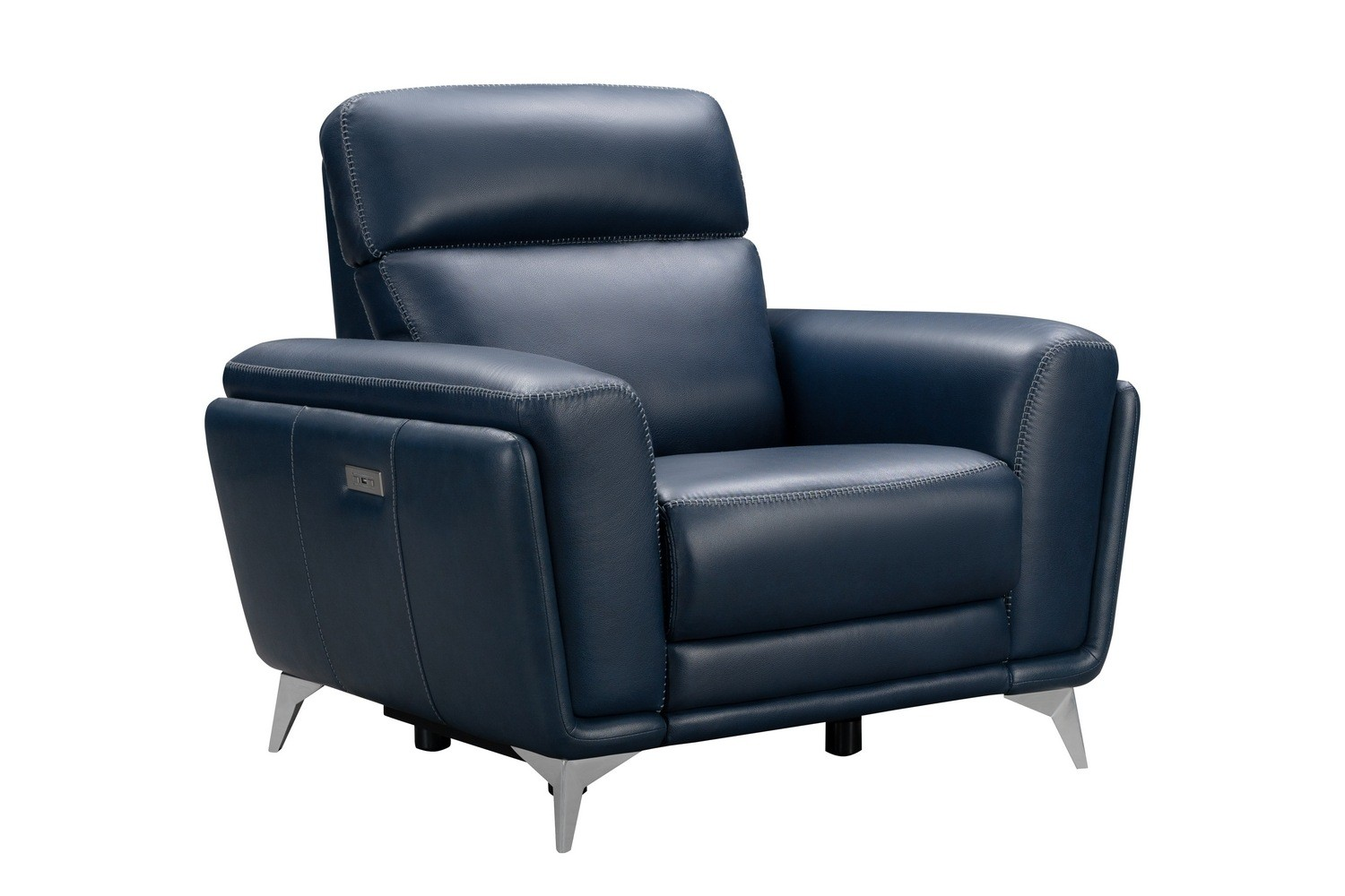 Barcalounger Cameron Power Recliner Chair with Power Head Rest - Marco Navy Blue/Leather Match