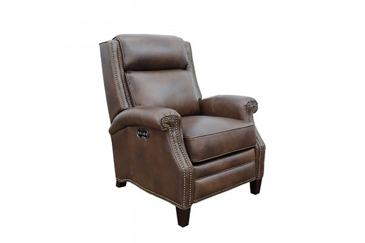 Barcalounger Barrett Power Recliner Chair with Power Head Rest - Worthington Cognac/All Leather