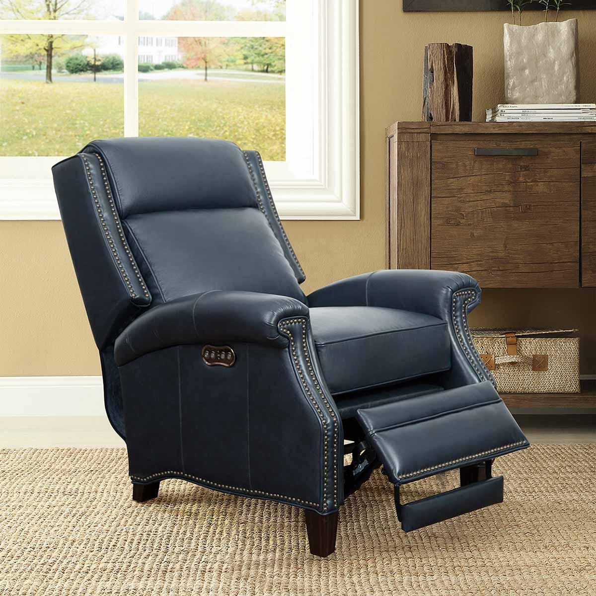 Barcalounger Barrett Power Recliner Chair with Power Headrest - Shoreham Blue/All Leather
