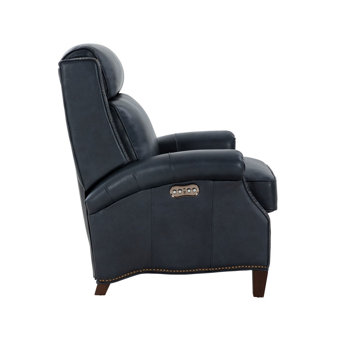 Barcalounger Barrett Power Recliner Chair with Power Head Rest - Barone Navy Blue/All Leather