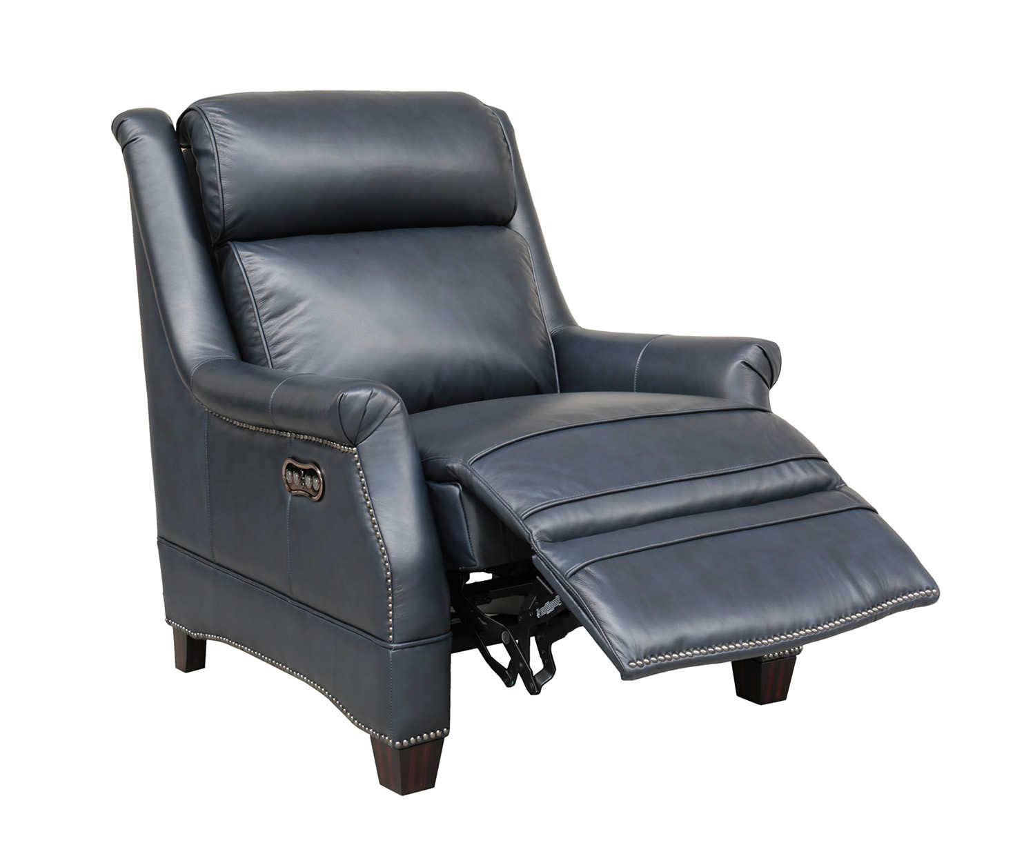 Barcalounger Warrendale Power Recliner Chair with Power Head Rest - Shoreham Blue/All Leather