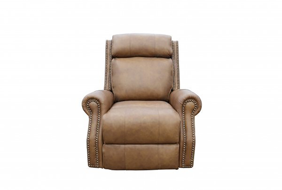 Barcalounger Blair Big and Tall Power Recliner Chair with Power Head Rest - Rustic Bourbon/All Top Rain Leather