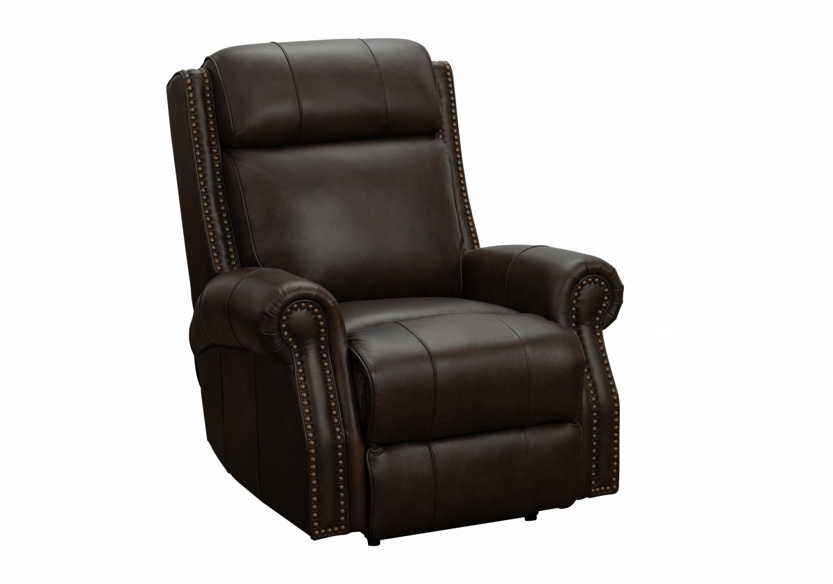 Barcalounger Blair Big and Tall Power Recliner Chair with Power Head Rest - Ashford Walnut/All Leather