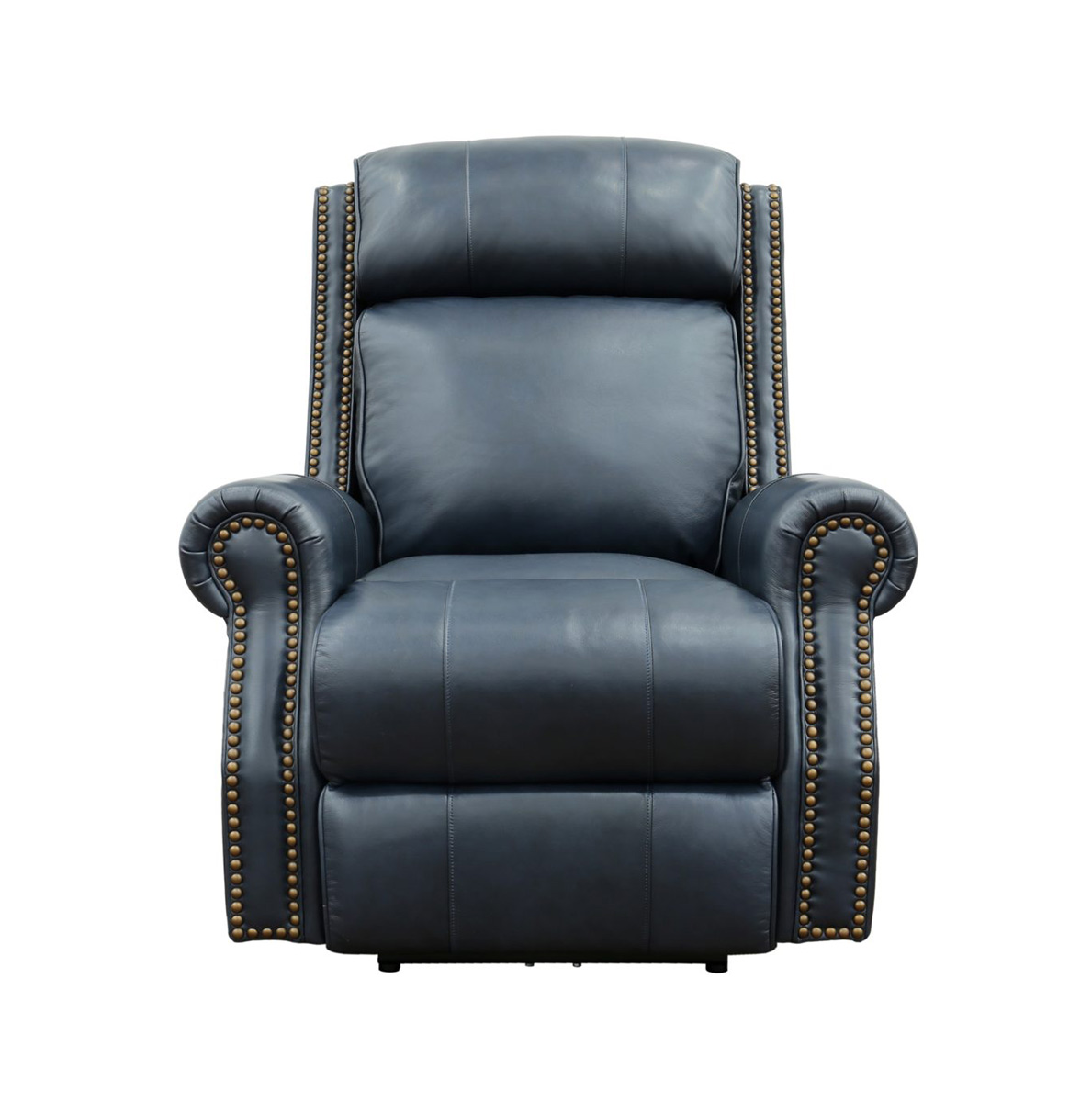 Barcalounger Blair Big and Tall Power Recliner Chair with Power Head Rest - Shoreham Blue/all leather