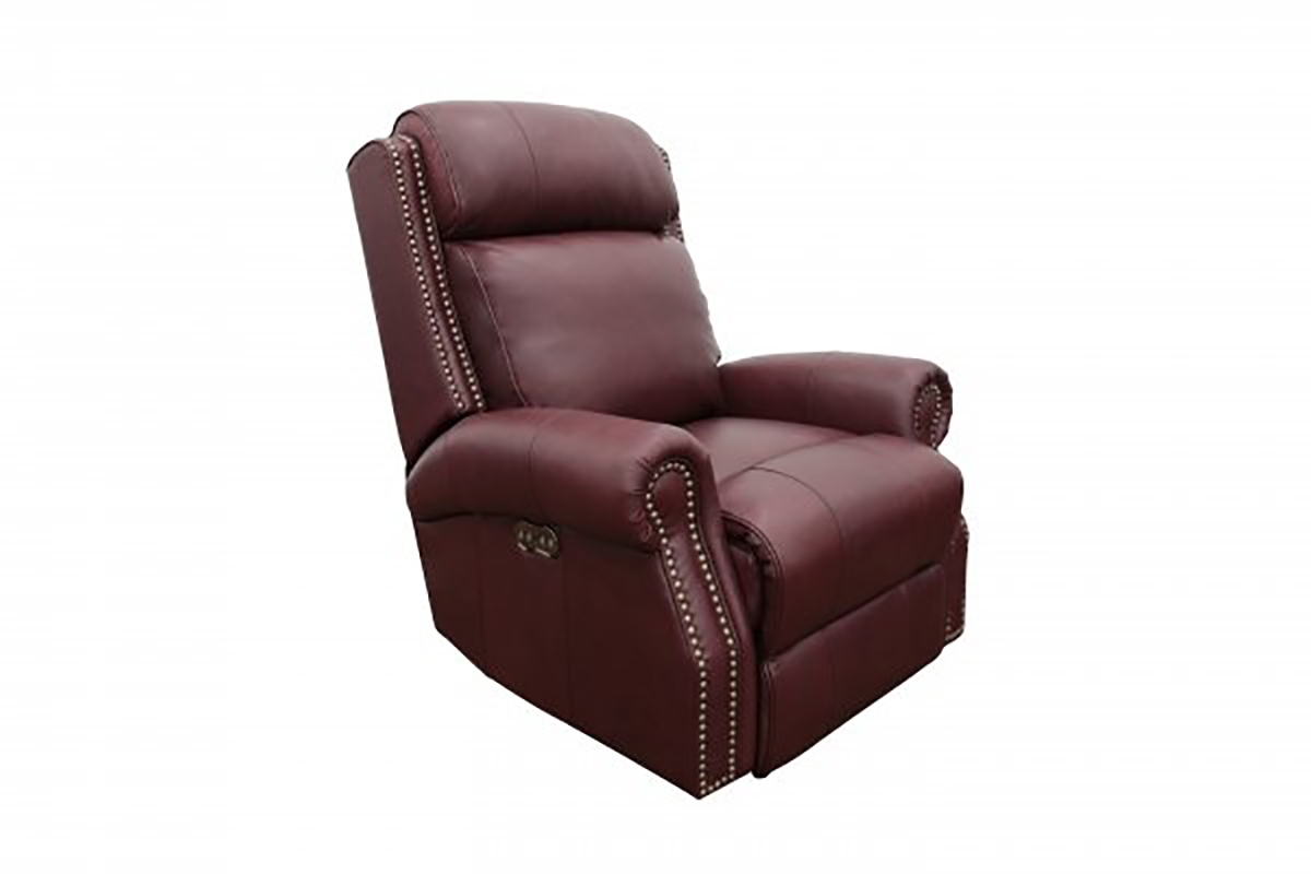Barcalounger Blair Big and Tall Power Recliner Chair with Power Head Rest - Shoreham Wine/All Leather