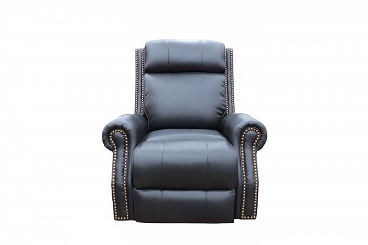 Barcalounger Blair Big and Tall Power Recliner Chair with Power Head Rest - Wenlock Onyx/All Leather