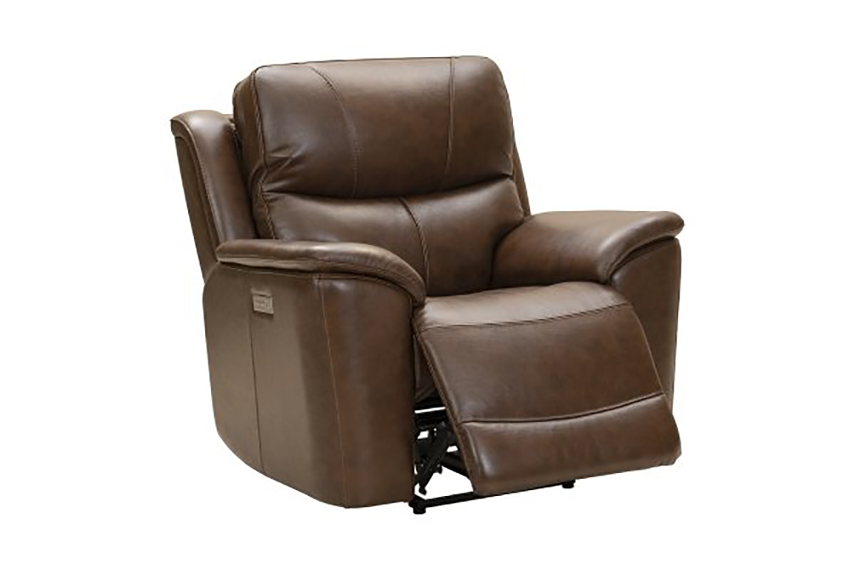 Barcalounger Kaden Power Recliner Chair with Power Head Rest and Lumbar - Jarod Brown/Leather Match