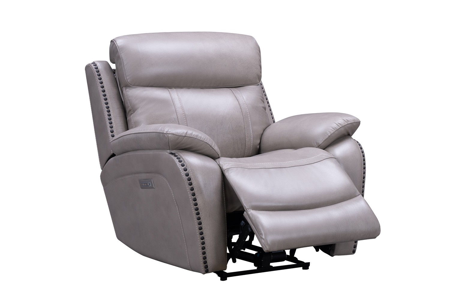 Barcalounger Sandover Power Recliner Chair with Power Head Rest and Lumbar - Sergi Gray Beige/Leather Match