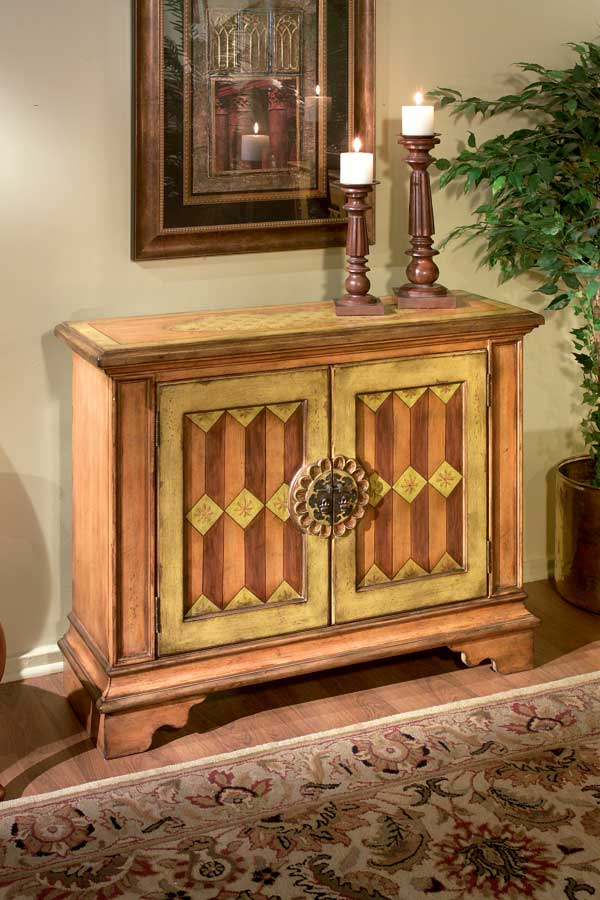 Butler Tuscan Orange Hand Painted Console Cabinet