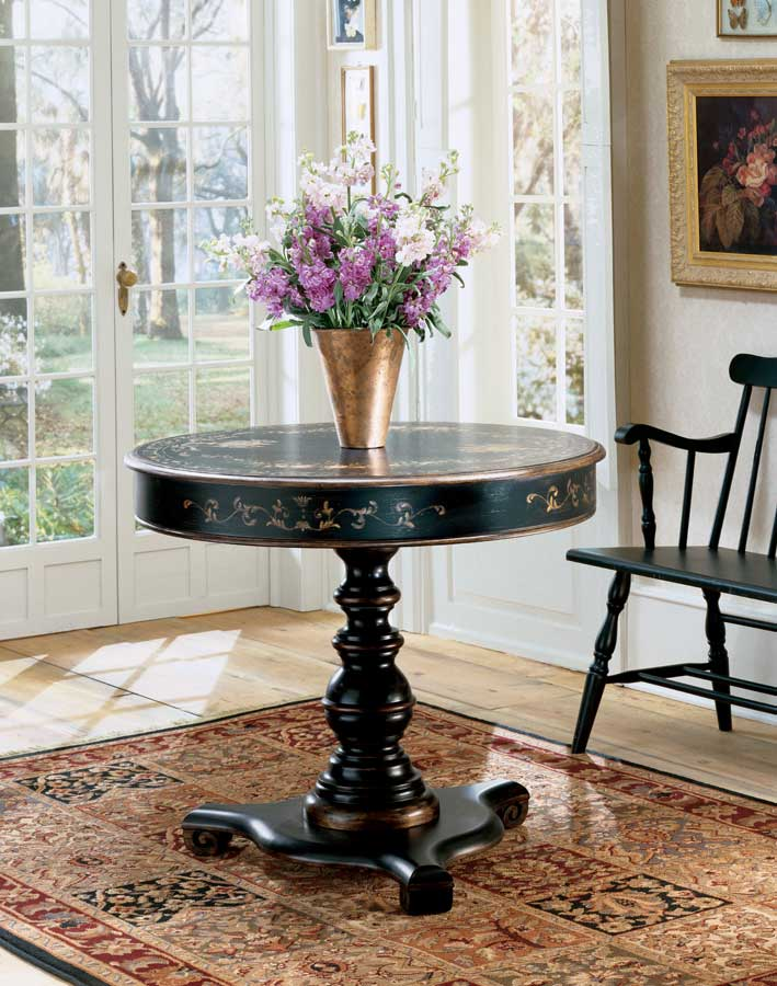 Butler regal black hand painted accent table bt 563069 at for Painted foyer tables