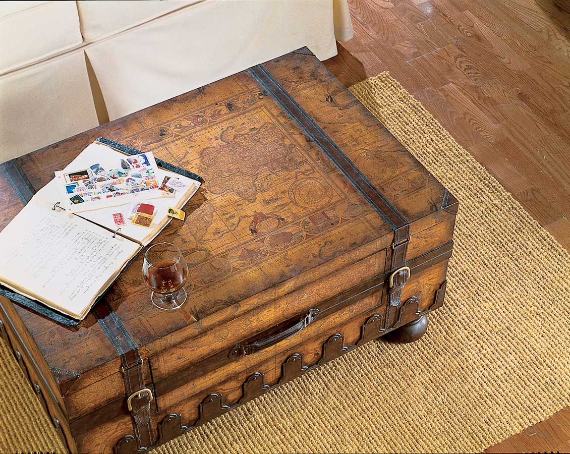 Vintage old world map style steamer storage trunk coffee - Trunk style coffee tables ...