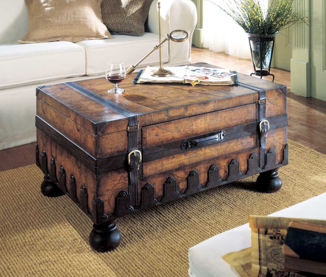 Beige Trunk Coffee Table: VINTAGE OLD WORLD MAP STYLE STEAMER STORAGE TRUNK COFFEE