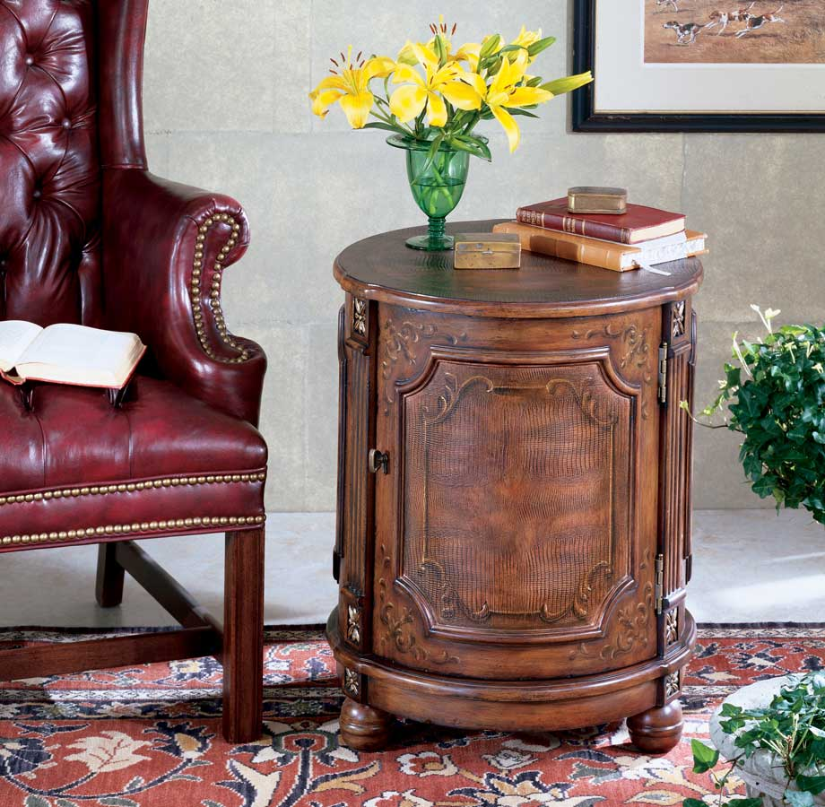 Cheap Butler Alligator Hand Painted Drum Table