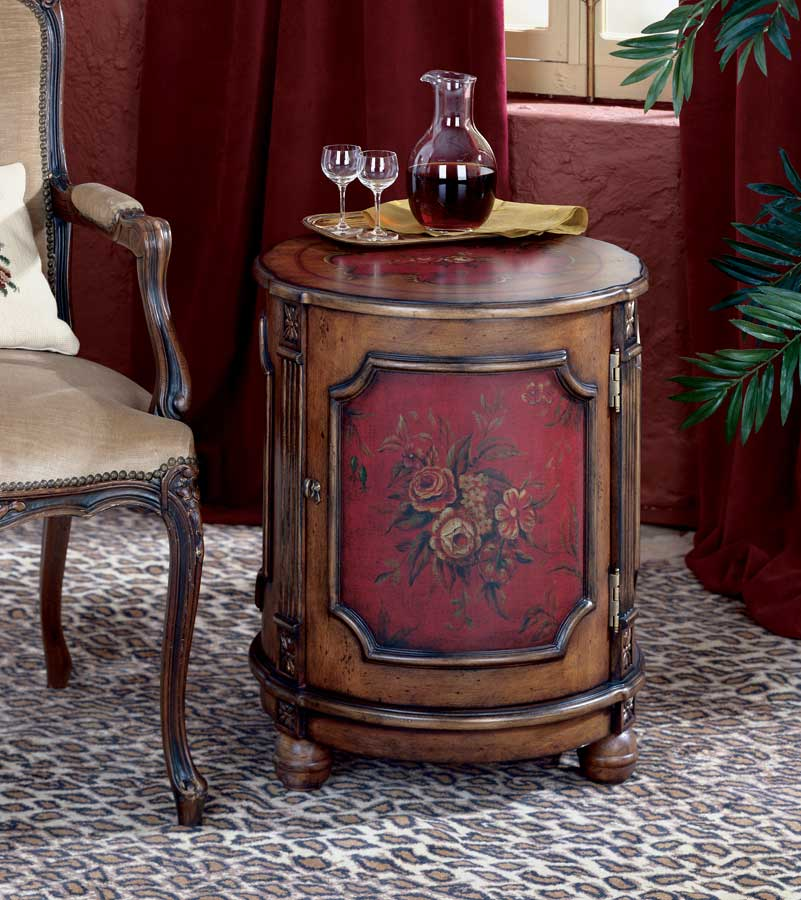 Cheap Butler Red Hand Painted Drum Table