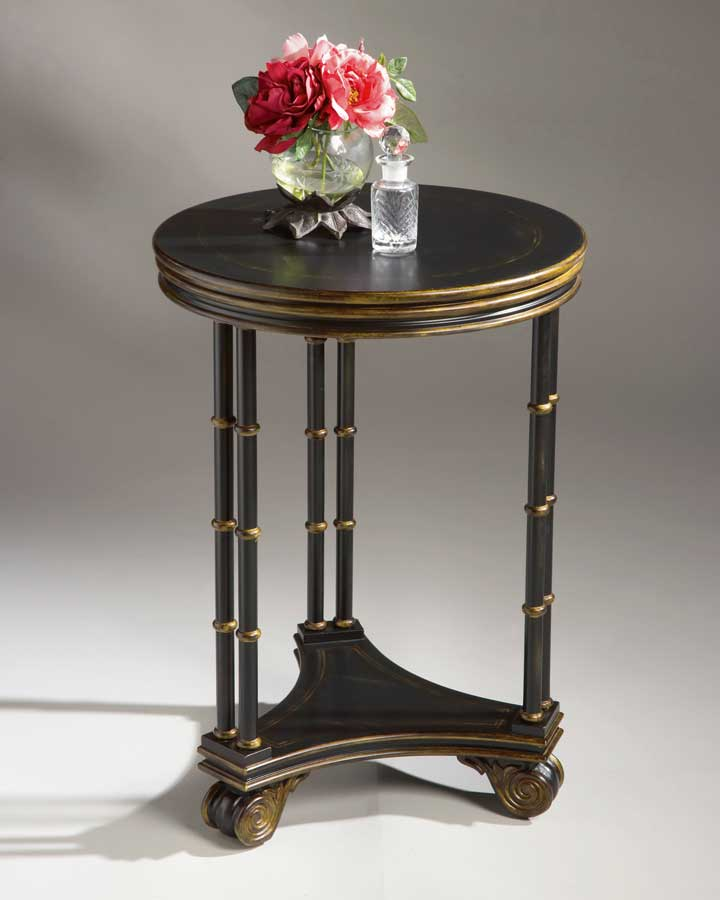 Photo of Butler Black w/Gold Tipping  Round Accent Table (Accent Furniture, Accent Tables)