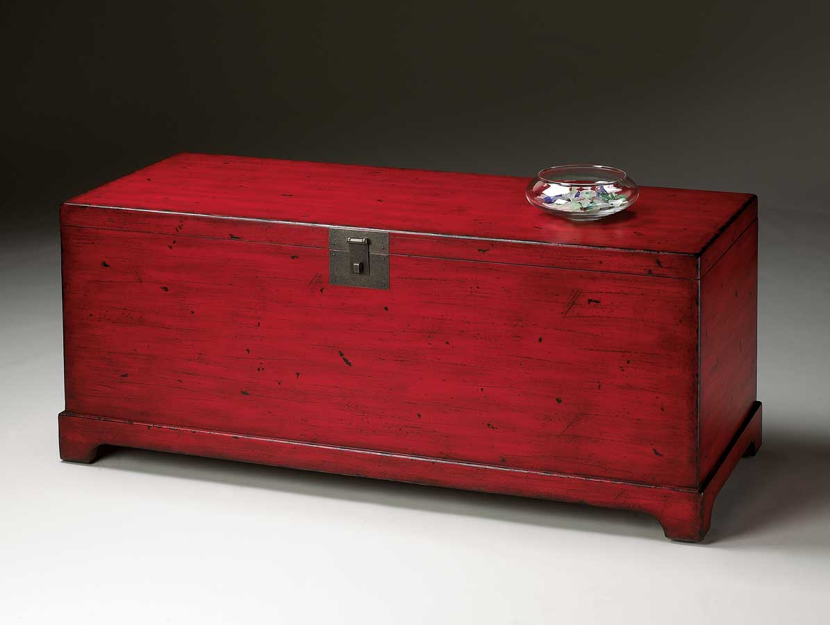Butler 1572183 Red Distressed Red Cocktail Trunk