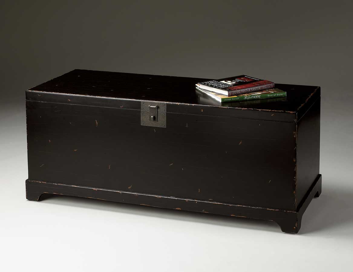 Butler 1572184 Black Distressed Black Cocktail Trunk