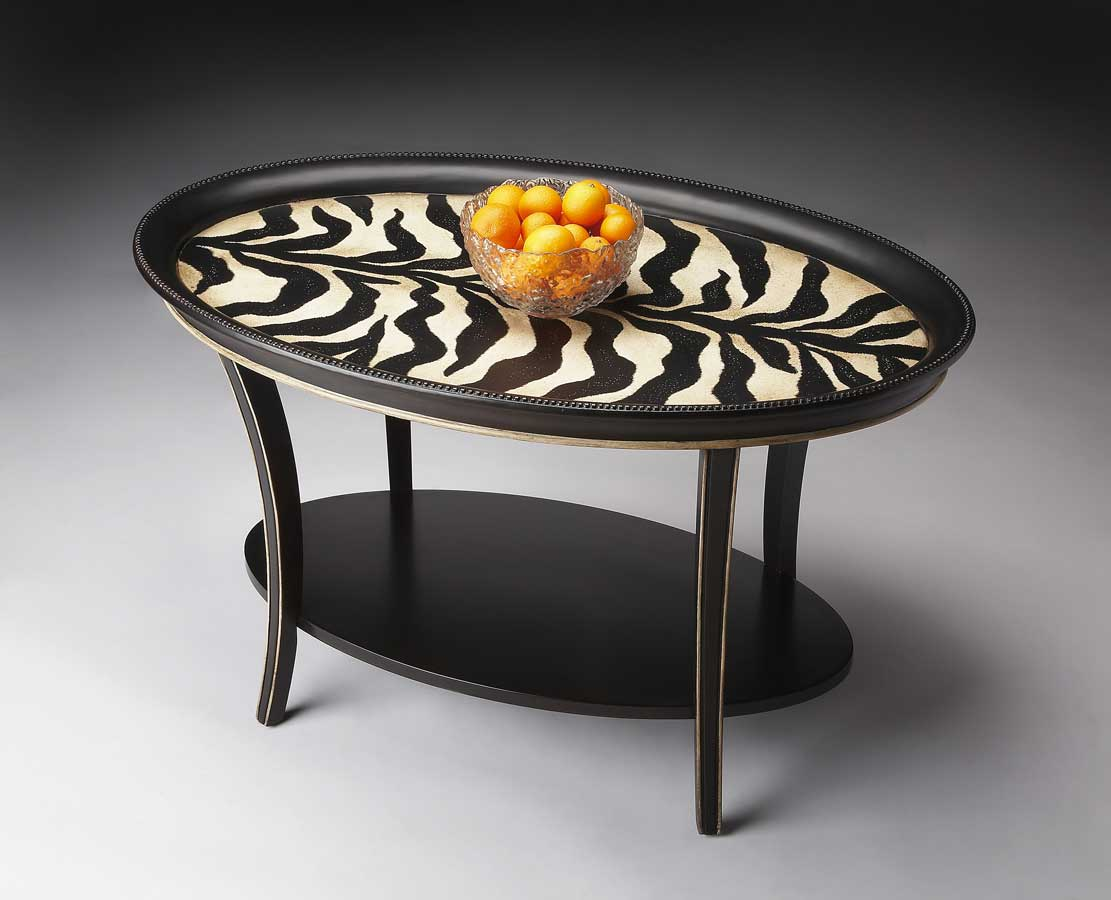 Butler 1591191 Zebra Stripe Oval Cocktail Table