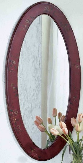 Cheap Butler Red Hand Painted Oval Mirror