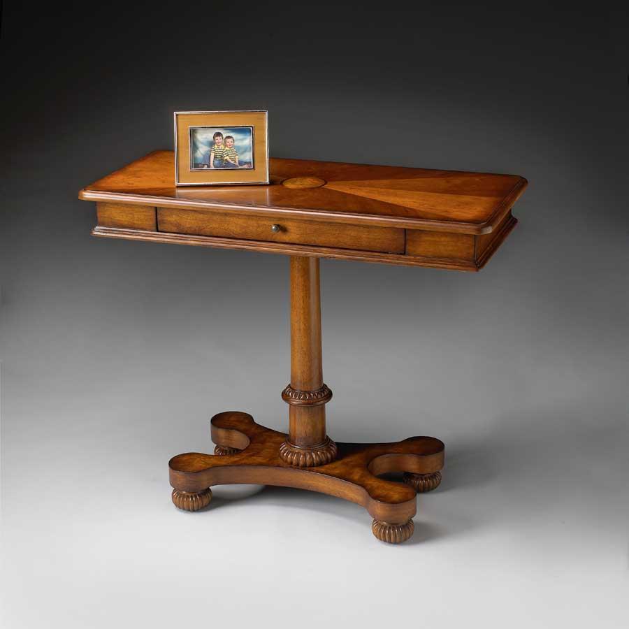 Cheap Butler Olive Ash Burl  Pedestal Console Table