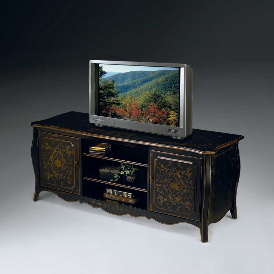 Wood Entertainment Center W Hand Painted Design Buy Entertainment Furniture Online