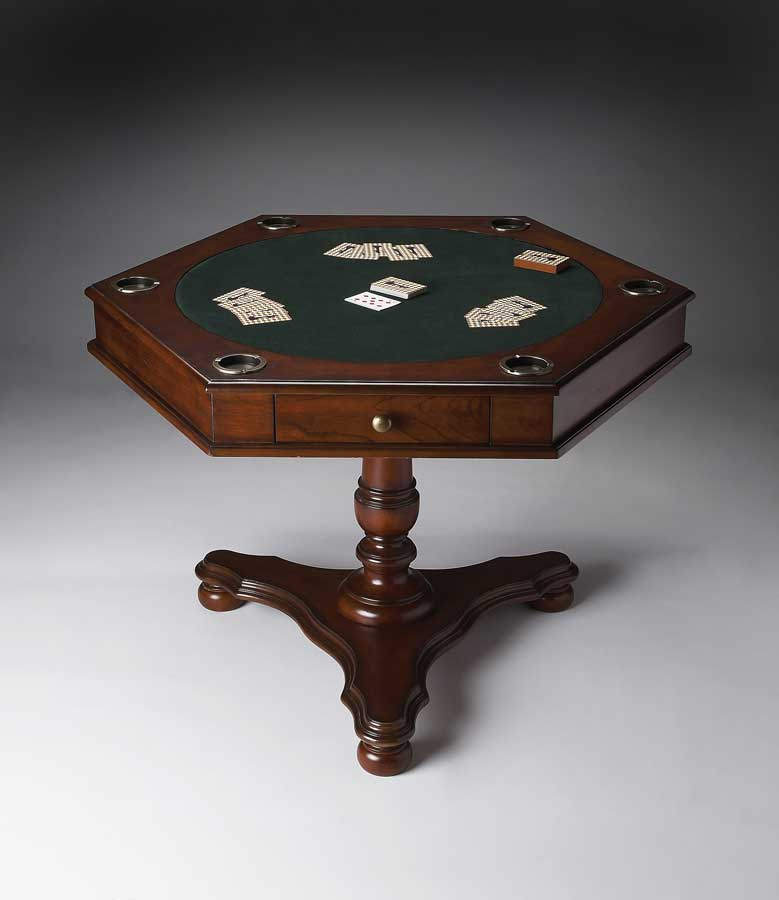 3024024 Plantation Cherry Hexagonal Game Table - Butler