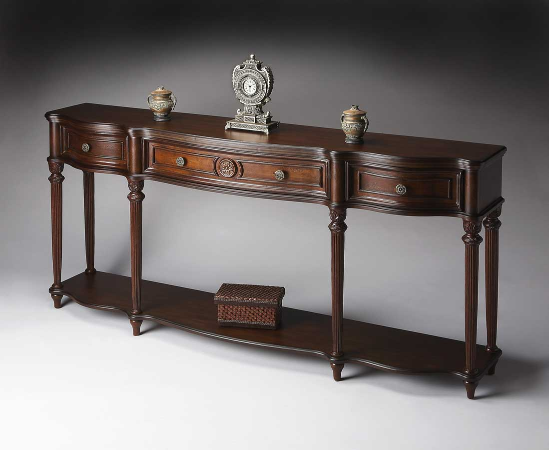 Butler 3028024 plantation cherry console table 3028024 for Sofa table cherry