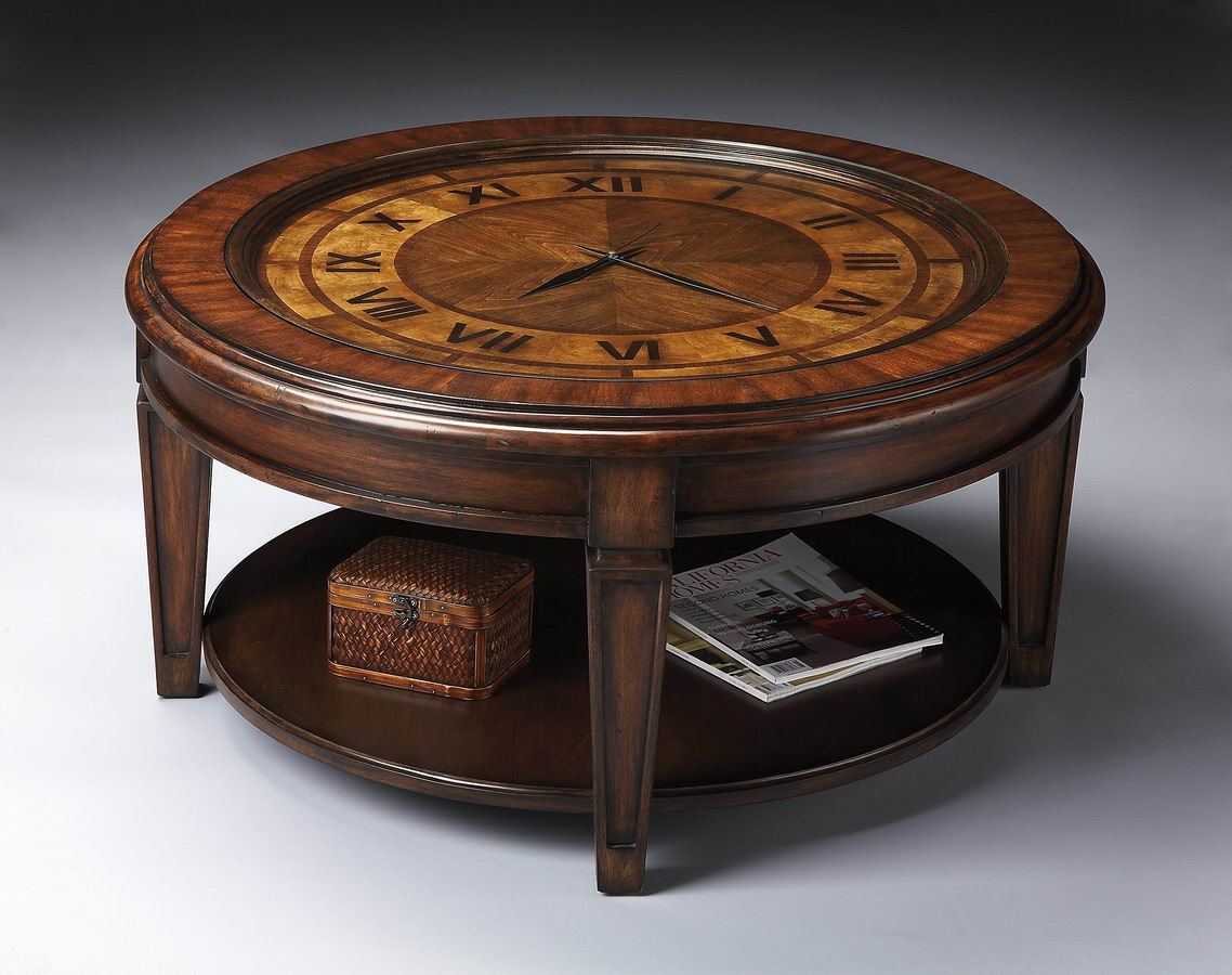 Butler 6047070 heritage clock cocktail table 6047070 Coffee table with clock