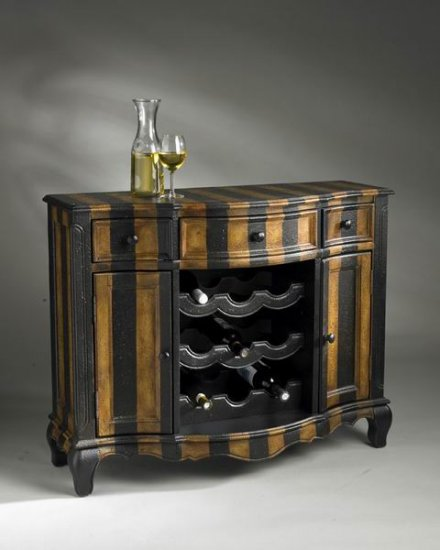 Cheap Butler Parisian Striped Hand Painted Console/wine Cabinet