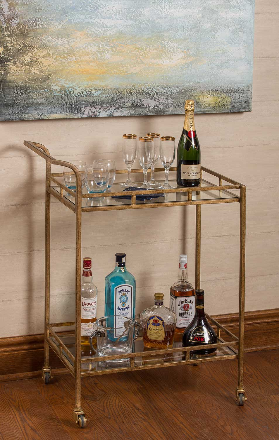 Cooper Classics Esther Bar Cart - Antique Gold