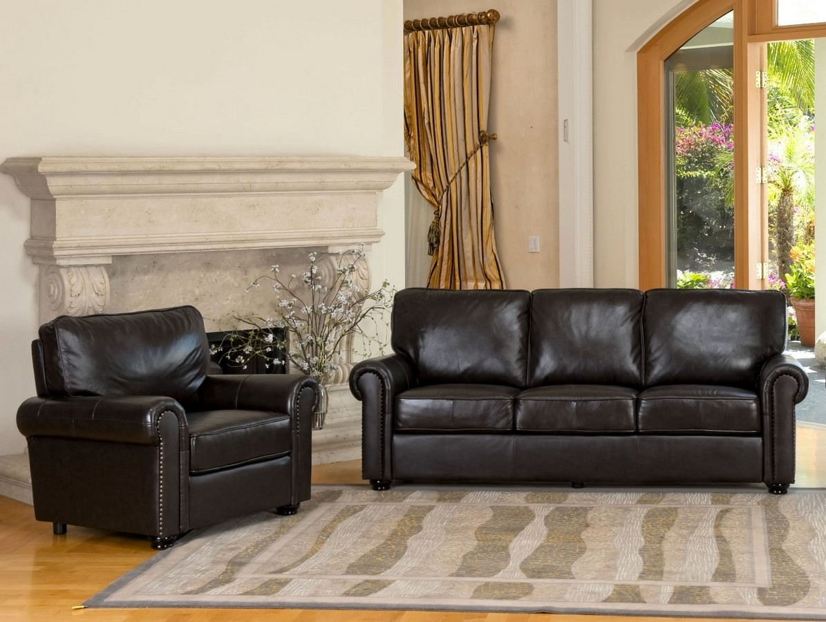 Purchase Abbyson Living London Top Grain Leather Sofa Chair Set Abbyson Product Photo