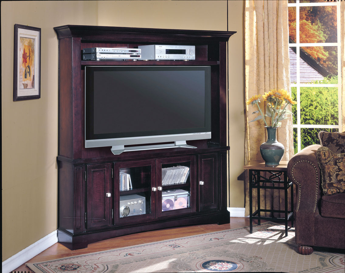 Furniture Oak Tall Corner Tv Cabinet With Doors In Beautiful  # Table Tv Bois Design