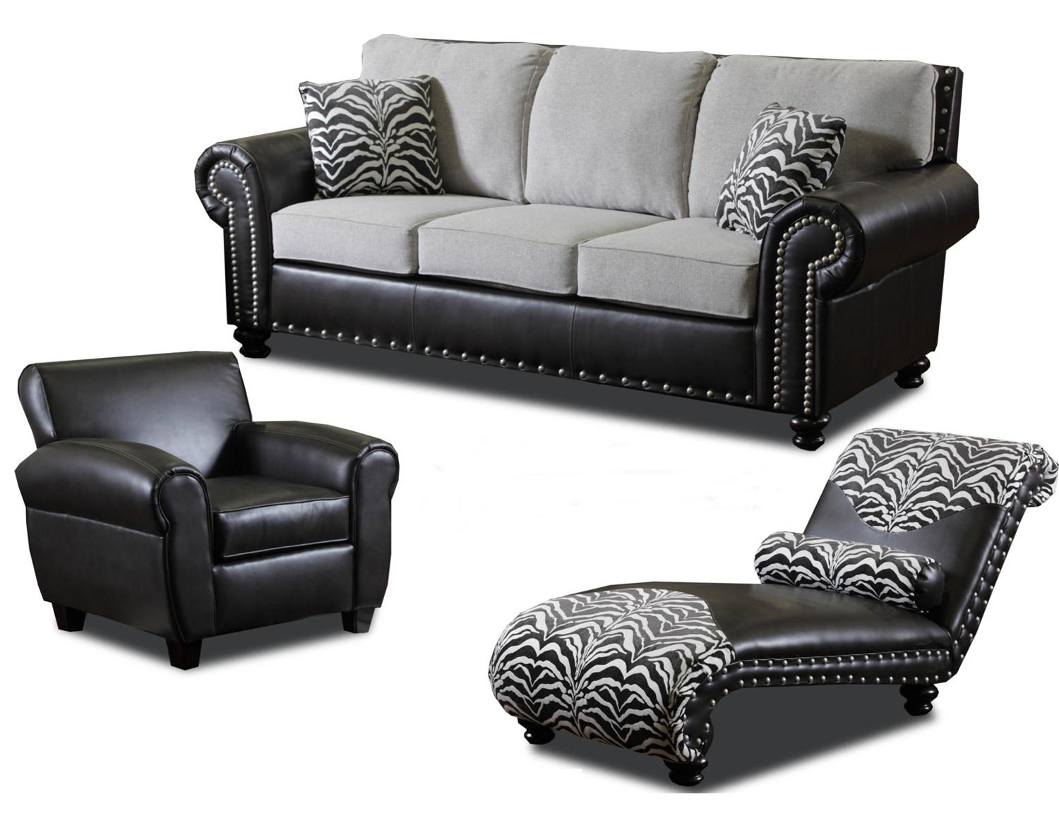 Chelsea Home Furniture Owasso Sofa Set - Unique Stone/Tempe Walnut 159020-Sofa-Set
