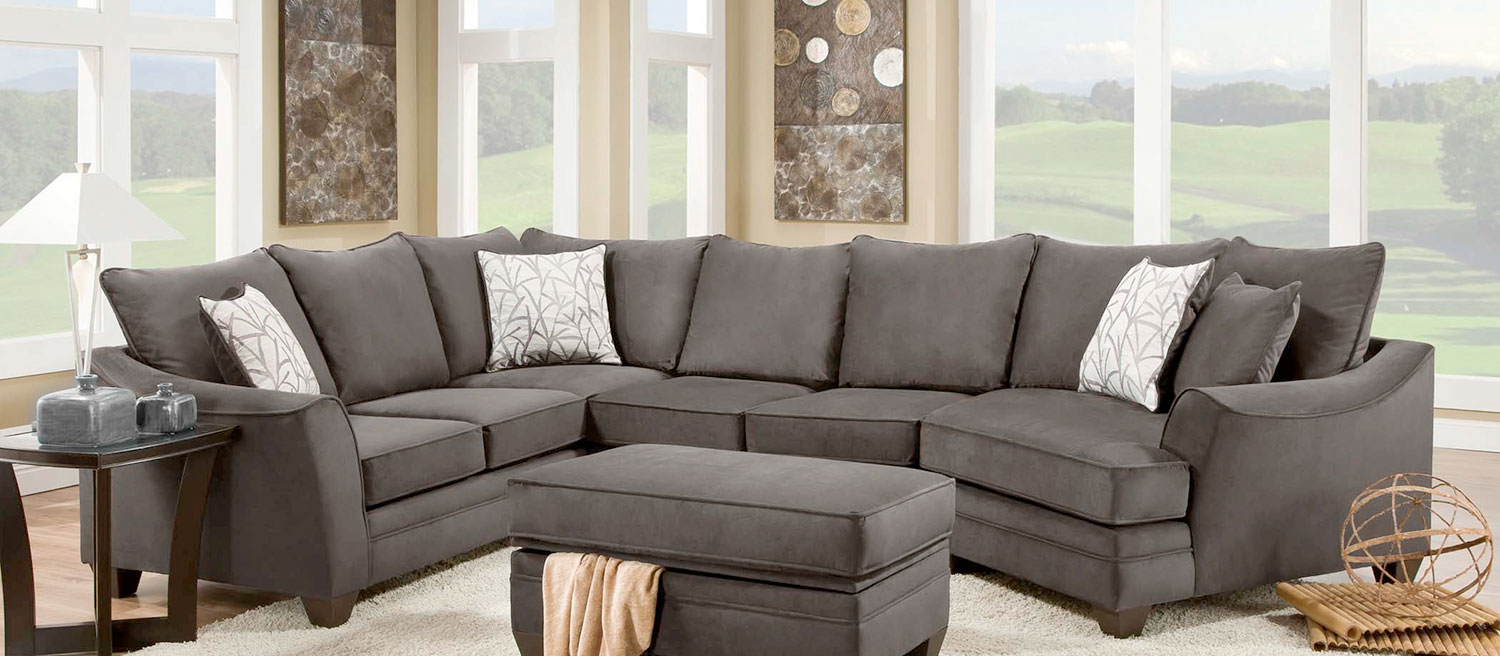 Chelsea Home Cupertino 3 Pc Sectional Sofa Set Flannel Seal Chf