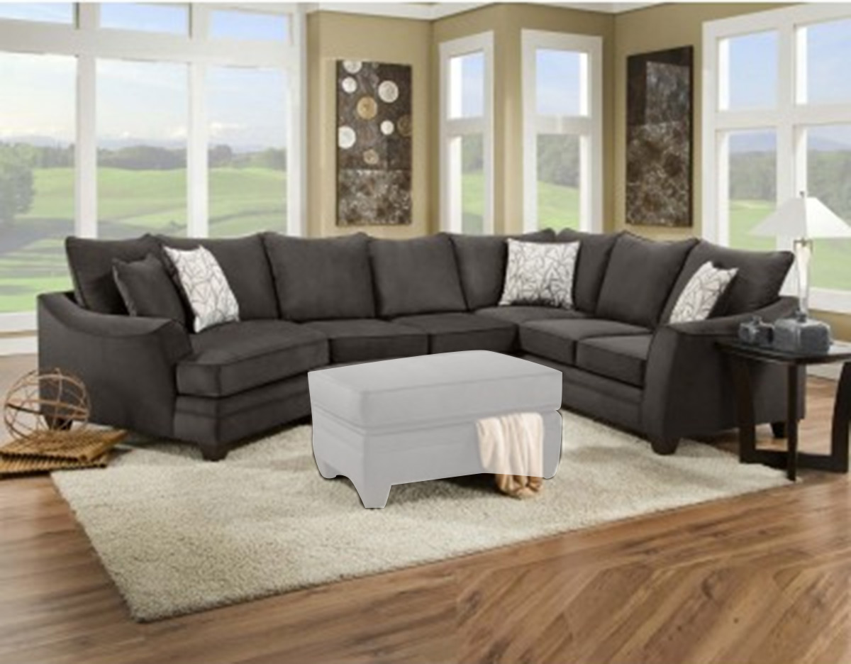 Chelsea Home Campbell 3 pc Sectional Sofa Set - Flannel Seal