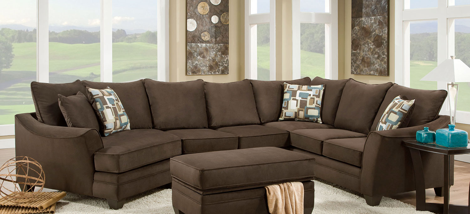Chelsea Home Campbell 3 pc Sectional Sofa Set - Flannel Espresso