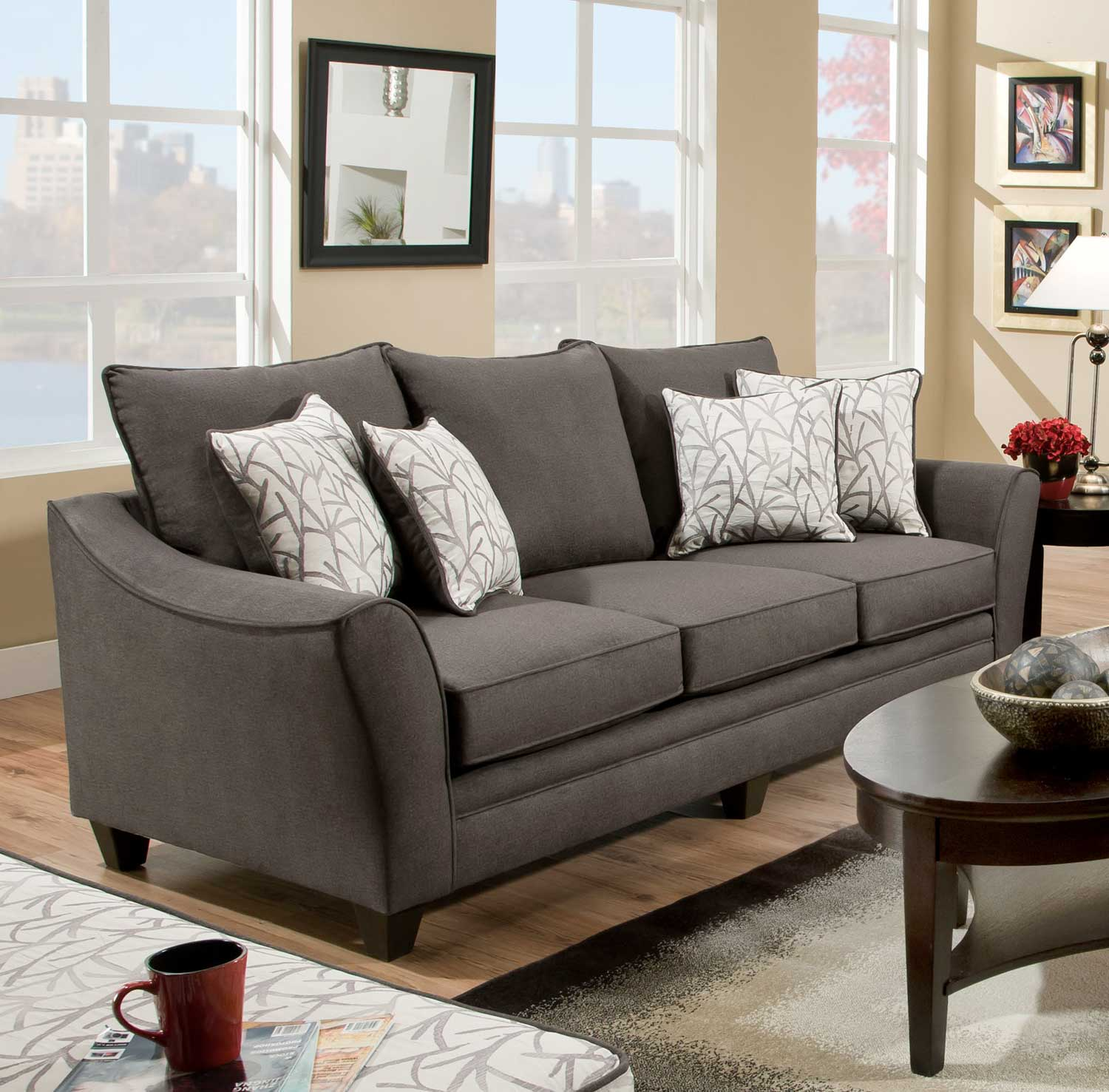 Chelsea Home Cupertino Sofa   Flannel Seal