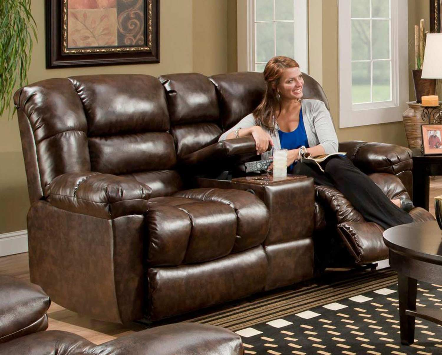 Chelsea Home Furniture Orleans Reclining Loveseat New Era Walnut 185502 4800