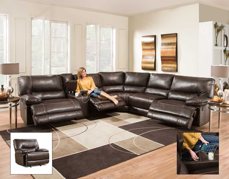 Chelsea Home Bane 6 pc Sectional Recliner Sofa set