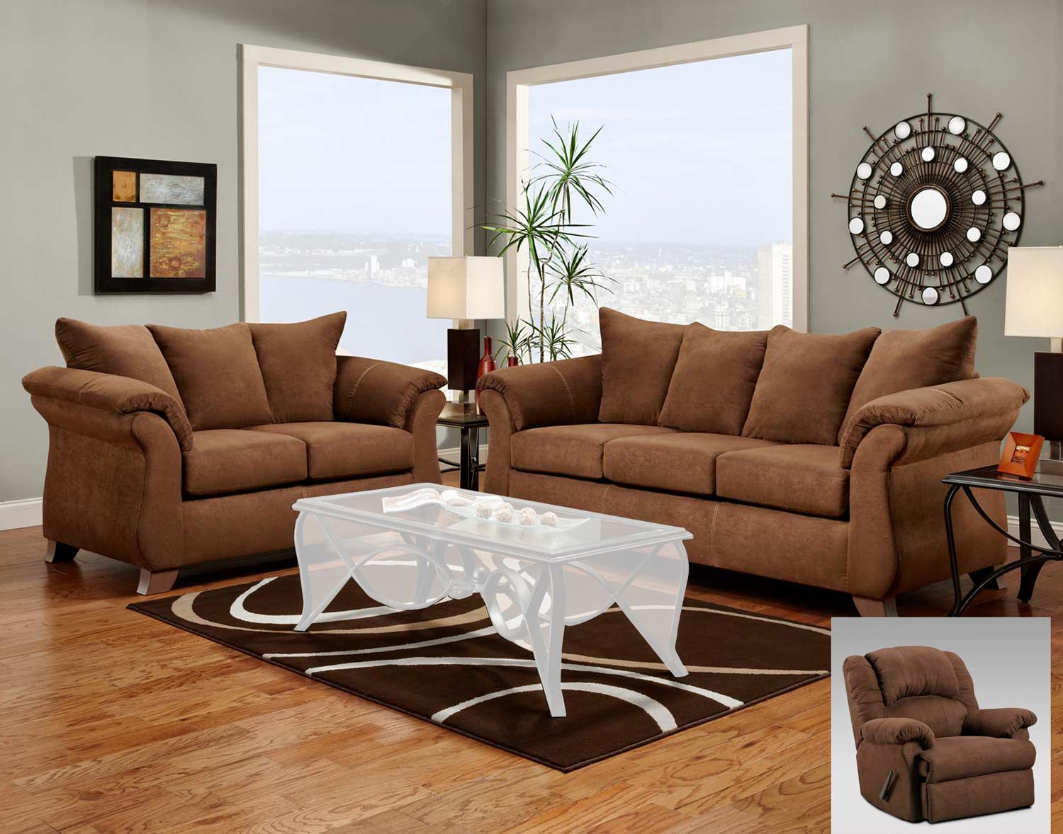 Chelsea Home Payton Sofa Set - Aruba Chocolate