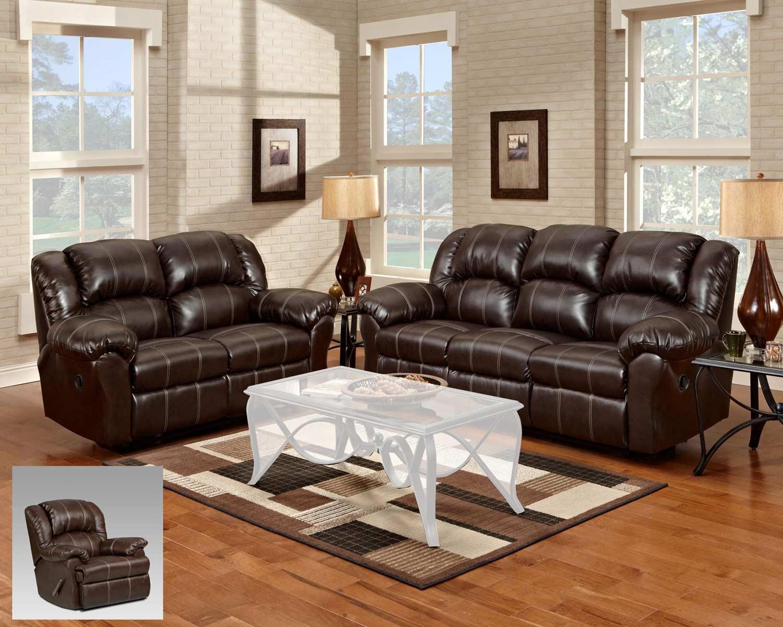 Chelsea Home Ambrose Reclining Sofa Set - Brandon Brown