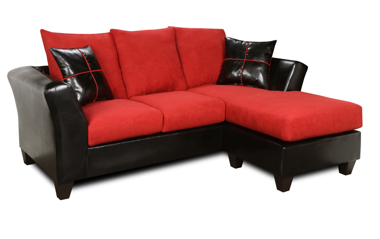 Chelsea Home Peyton Sofa Chaise - Denver Black/Victory Cardinal