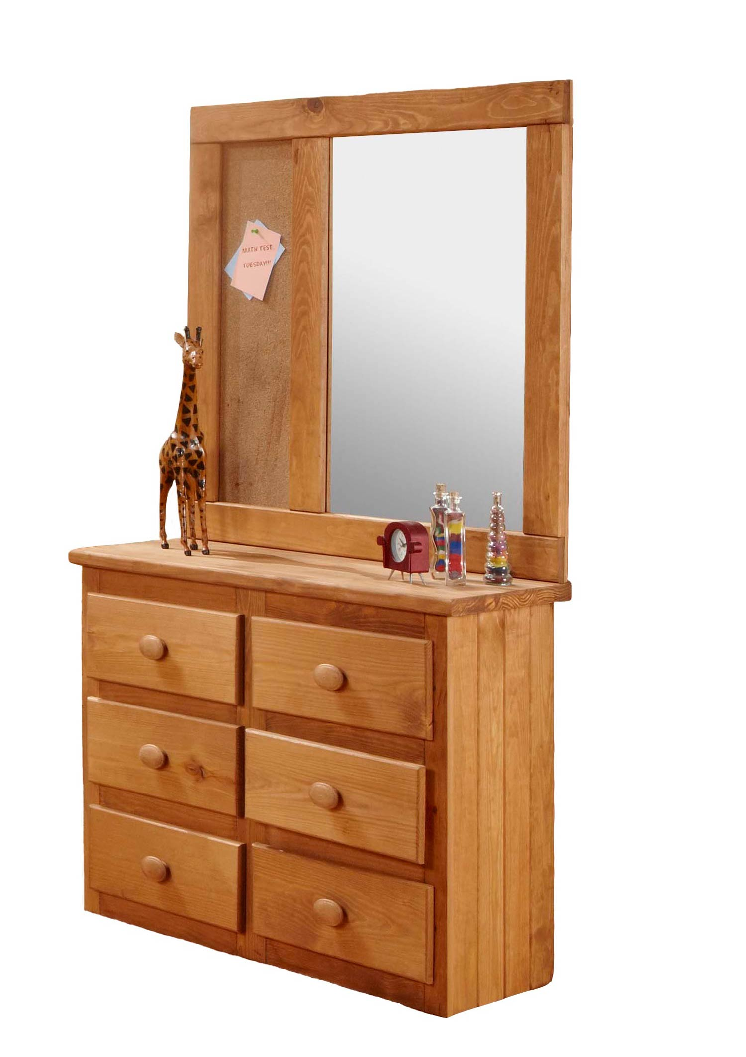 Chelsea Home 31006-101 Mini 6 Drawer Dresser with Landscape Mirror - Ginger Stain