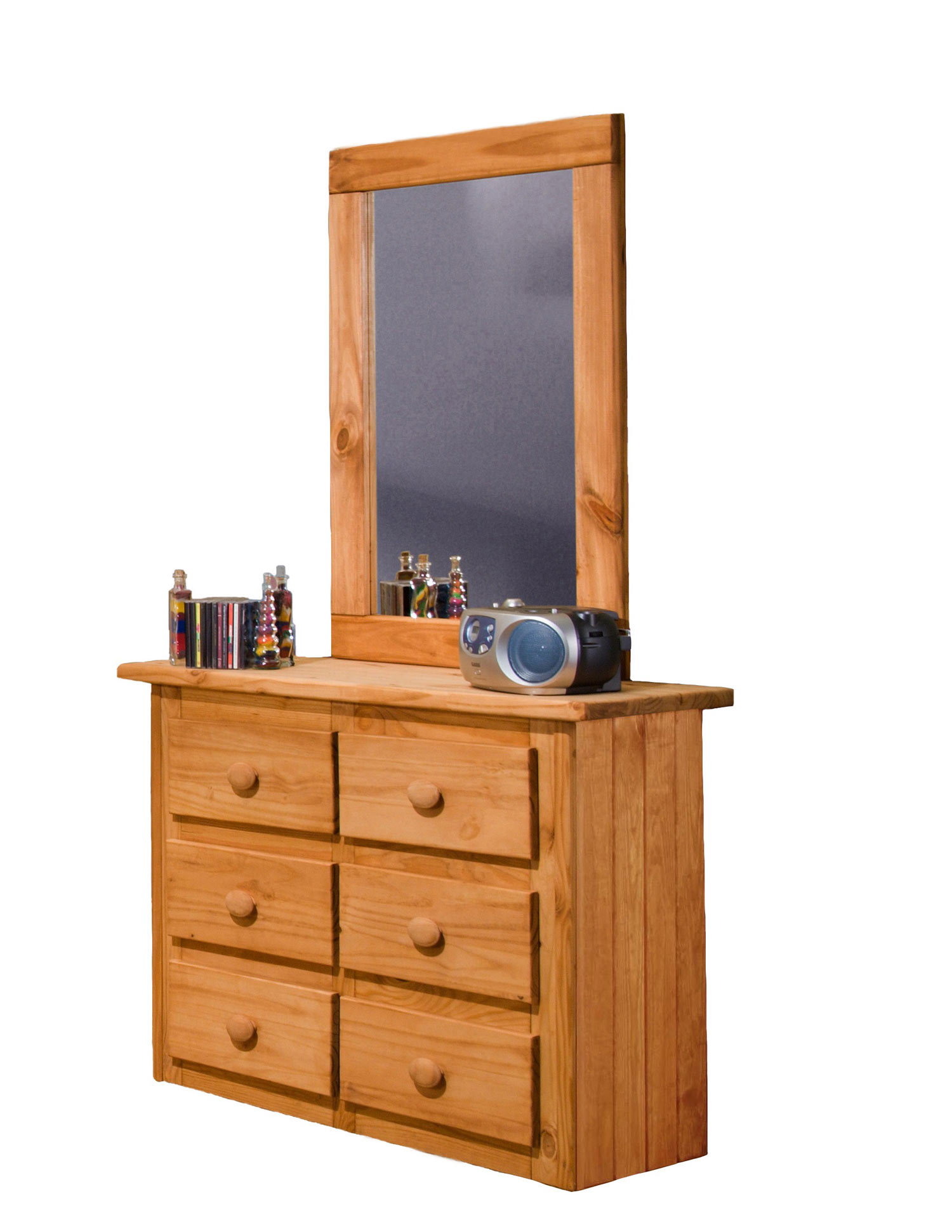 Chelsea Home 31006-201 Mini 6 Drawer Dresser with Mirror - Ginger Stain