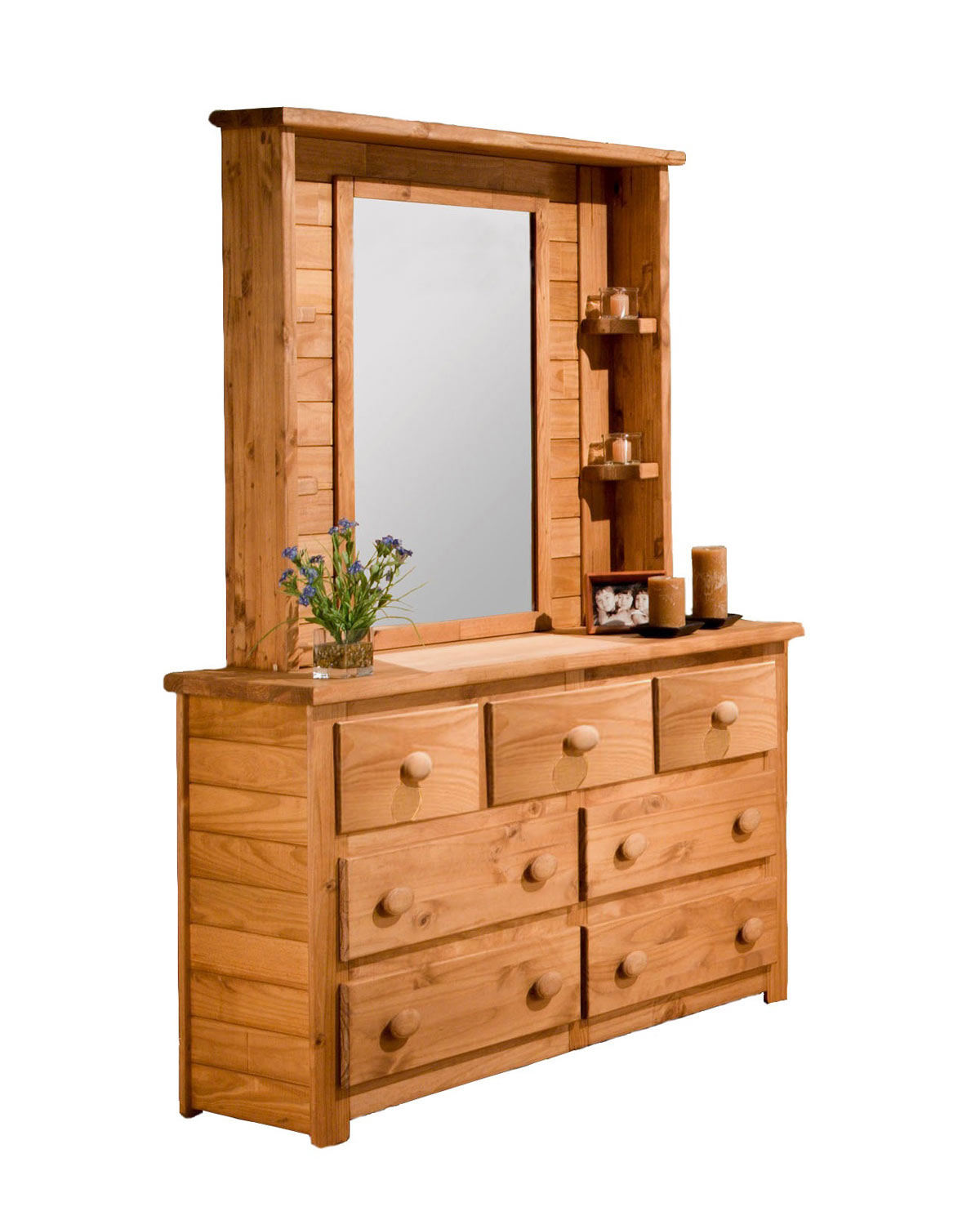 Chelsea Home 31007-104 7 Drawer Dresser with Mirror Hutch - Ginger Stain