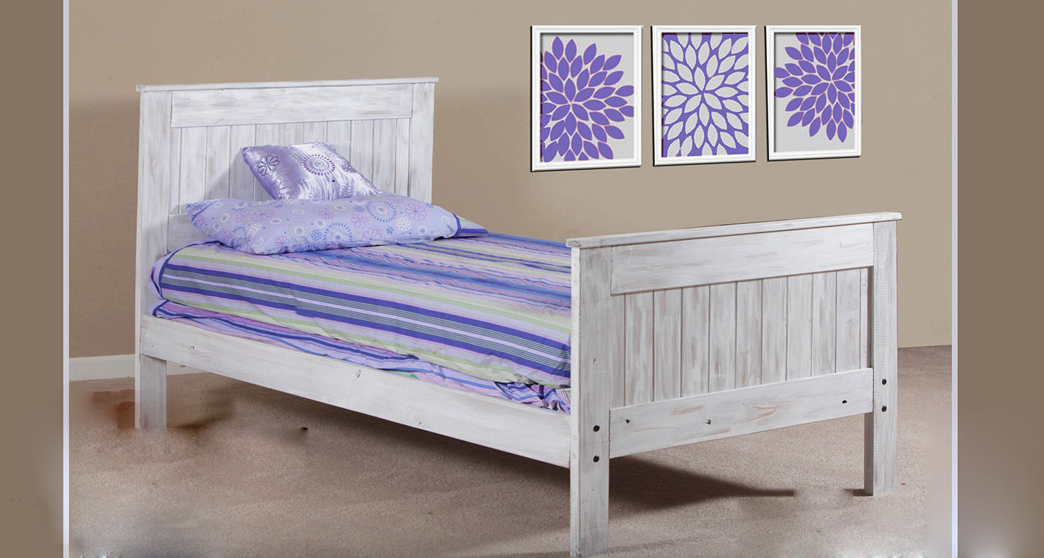 Chelsea Home Twin Mates Bed - White Distressed