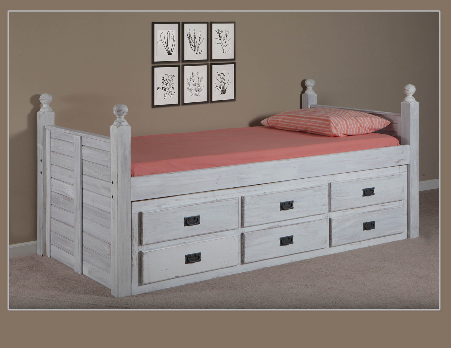 Chelsea Home Twin Panel Post Captain Bed with Six Drawer Unit - White Distressed