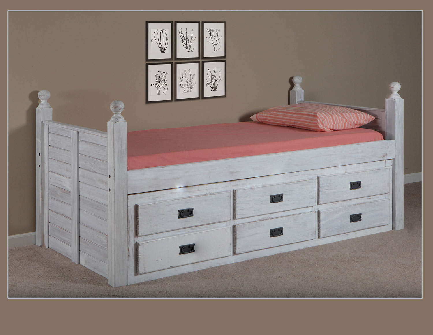Chelsea Home Full Panel Captain Bed with Six Drawer Unit - White Distressed
