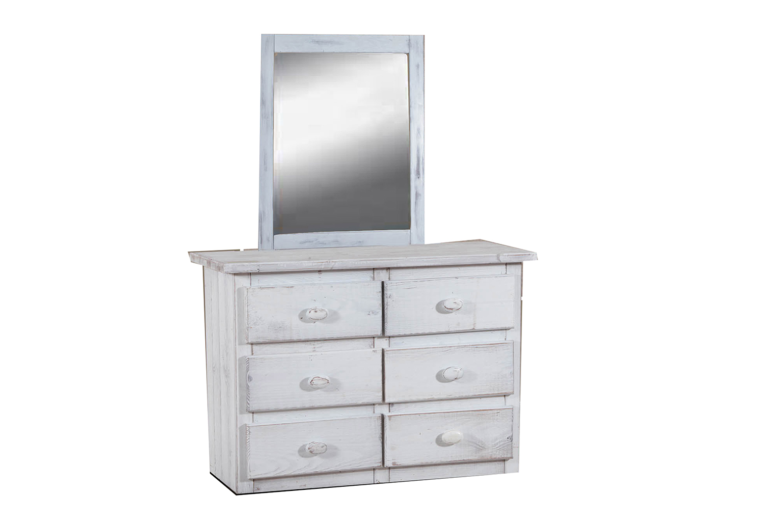 Chelsea Home 6 Drawer Mini Dresser with Mirror - White Distressed