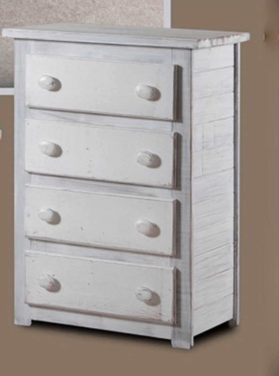 Chelsea Home 4 Drawer Chest - White Distressed